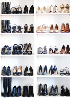 Book cases for shoes. These are easier to install and you might already have them. Shoes make great decorations!!!
