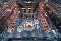 Rockefeller Center plaza is transformed by circular portals and raised streetscape in a new proposal. Exterior rendering of the proposed plaza (Courtesy Rockefeller Group)