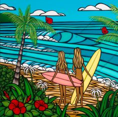 Surf art by North Shore Hawaii artist Heather Brown, depicting two surf sisters growing up on the North Shore of Oahu, enjoying life in the sun and surf. Heather Brown Art, Art Plage, Hawaii Surf, Hanging Canvas, Hawaiian Flowers, Beach Art, Illustrations, Oeuvre D'art, Artwork Prints