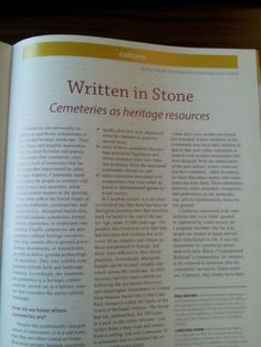 """Check us out in the Sept issue of Municipal World """"Written in Stone: Cemeteries as heritage resources"""" Bullet Journal, Articles, Writing, Stone, Twitter, Books, Check, Livros, Book"""