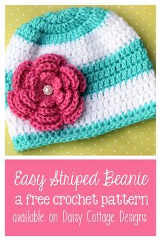 Easy crochet beanie pattern from Daisy Cottage Designs. Perfect for those cool fall days.