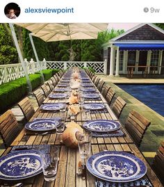 Blue and White Monday Love these tables that can be put together!