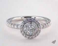 14K White Gold Royal Halo Single Pave Halo Engagement Ring