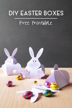 DIY Easter Boxes! These cute Easter Bunny Boxes are so easy to make and make great gifts! Click to download the free printable!