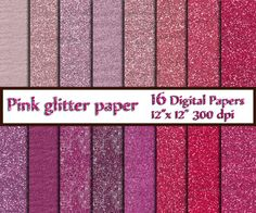 "Pink Glitter Digital Paper: ""GLITTER PAPER""  Glitter Papers Texture Digital Scrapbook Paper Printable Paper Glitter Texture Instant Download"