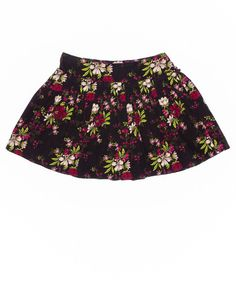 5-6 Years Girls Skirt by Crazy 8 | Kidz Outfitters Dark brown corduroy skirt with colorful floral print, pleated front, gathered back, elastic waist on back, and built-in underpants. #kidsclothes   #kidsfashion