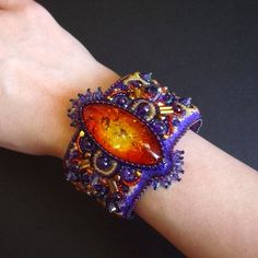 Fearless Bead Embroidered Cuff on Etsy--Luxury Bead Embroidery by CircesHouse, with Swarovski Crystals. $265.00, via Etsy.