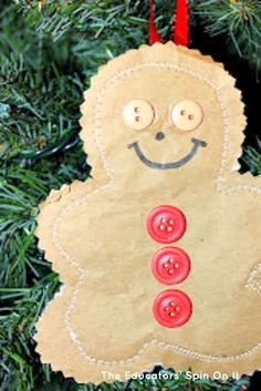 DIY Gingerbread Man Ornament - Christmas Kid Craft.