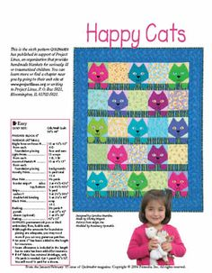 Free Happy Cats quilt pattern in support of Project Linus