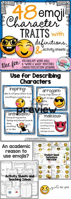 Ever asked your students to describe a character? Good, bad, nice, mean? Yes, I've had that lesson fail and I figured out what to do about it. Provide your students with a set of EMOJI STYLE character traits and definitions that will have them increasing Persuasive Essay Topics, Narrative Essay, Essay Writing, Writing Process, Persuasive Writing, Emoji Characters, Describing Characters, Vocabulary Word Walls, Vocabulary Activities