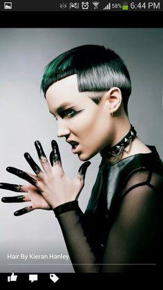 Green, white & black geometric haircut