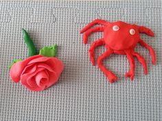 A playdough rose and a crab!!!