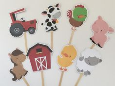Cute Farm cupcake toppers by DianasDen on Etsy
