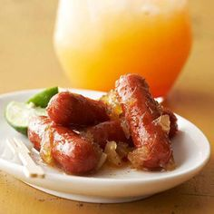 Slow cooker Caribbean cocktail sausages.Very delicious,easy&quick recipe.Sausages with lime juice,Jamaican seasoning and ginger cooked in slow cooker. Delicious!!!