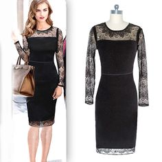 Find More Dresses Information about Hot Sale Dresses Women O Neck Full Sleeves Knee length Lace Robes Short Dresses Elegant Little Black Vestidos Dresses Women 2016,High Quality robe kimono,China robes sale Suppliers, Cheap robe sleepwear from Olivia Trading Co., Ltd. on Aliexpress.com