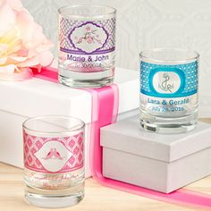 Personalized Round Shot Glass/Votive Candle Holder (FashionCraft 3406CS_Wed) | Buy at Wedding Favors Unlimited…