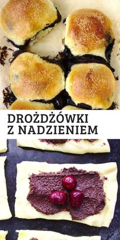 Bułeczki drożdżowe z wiśniami i czekoladą | Słodkie Gotowanie Hamburger, Bread, Ethnic Recipes, Food, Brot, Essen, Baking, Burgers, Meals