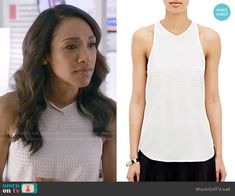 Iris's white studded top on The Flash.  Outfit Details: http://wornontv.net/53073/ #TheFlash
