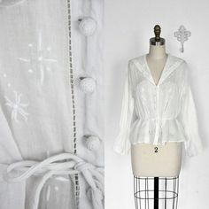 Vintage 1920's White Cotton Embroidered Blouse by BombyxVintage, $125.00