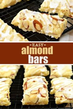 This Almond Bars recipe is a sweet treat that has a shortbread-like texture and a delicious almond glaze on top! You'll want to make extra and freeze them for later! Extract and sliced almonds Köstliche Desserts, Best Dessert Recipes, Sweet Recipes, Delicious Desserts, Yummy Food, Almond Pastry, Almond Bars, Almond Cookies, Yummy Cookies