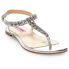 2ccd25a727648 Betsey Johnson Silver Sulivann Sandal - Women s ( 59) ❤ liked on Polyvore  featuring shoes