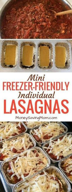 These easy mini individual lasagnas are freezer-friendly and can be made ahead of time! They're perfect for on-the-go lunches or dinners! They also work great for single people, busy schedules, and work/school lunches! Make Ahead Meals, Easy Meals, Make Ahead Lasagna, Lasagna To Freeze, Meals To Freeze, Healthy Meals, Cheap Meals, Make Ahead Casseroles, Healthy Recipes