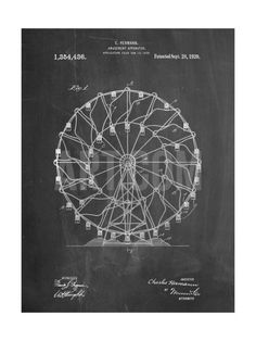 Ferris Wheel 1920 Patent Art Print by Cole Borders at Art.com