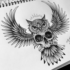 - Tattoos and body art - Tatouage Owl Skull Tattoos, Owl Tattoo Drawings, Leg Tattoos, Body Art Tattoos, Sleeve Tattoos, Cool Tattoos, Owl Neck Tattoo, Circle Tattoos, Sketch Tattoo