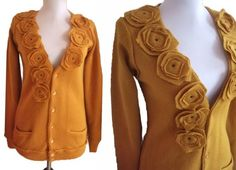 Floral  Cardian Sweater S/M by RebeccasArtCloset on Etsy