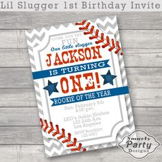 Baseball Rookie of the Year 1st Birthday by SmartyPartyDesigns