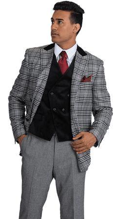 f6c47c6a42a6 Stacy Adams Black White Plaid Jacket Velvet Vest Suit Roy 8132-700