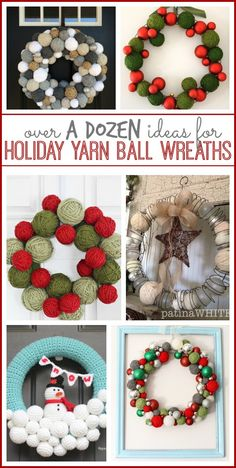I am smitten with Holiday Yarn Ball Wreaths – so I've gathered up a bunch of ideas for you to check out – love them all!! Mine from a few years ago – Sugar Bee Crafts Christmas Cheer Wreath from Country Living: Love the use of the spring on this one!! from Patina White Winter …