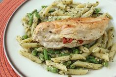 Goat Cheese & Sun Dried Tomato Stuffed Chicken with Pesto Penne & Asparagus! Please vote for this recipe and help me raise $1000 for the Utah Food Bank! #Pastapalooza #dreamfieldspasta