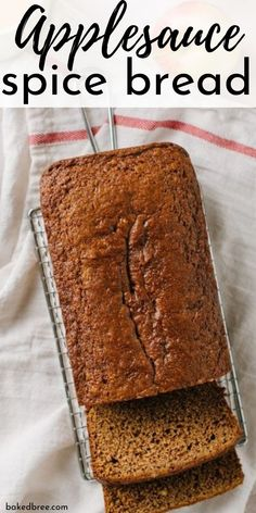 Applesauce Spice Bread is one quick bread recipe you will have to try for yourself. Tender, light, and moist spice bread that is super moist and incredible. Slice up for breakfast or even entertaining guests as a simple dessert. Best Bread Recipe, Quick Bread Recipes, Easy Bread, Apple Recipes, Baking Recipes, Applesauce Bread, Homemade Applesauce, Easy Desserts, Dessert Recipes