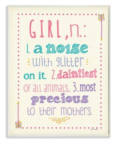 Another great find on #zulily! 'Girl' Definition Wall Art #zulilyfinds