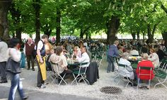 Nothing like a summer night at an Austrian bier garten - pretzels, schnitzel, beer and cards