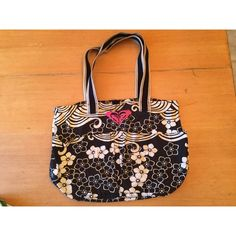 Roxy Black and White Tote Black and White, Roxy, Tote, L11 in x W11 in Roxy Bags Totes
