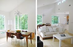 love the white, wood and green through the windows