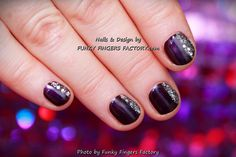 Gelish Night Reflection with Silver Glitter on short nails by www.funkyfingersfactory.com