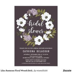 Lilac Anemone Floral Wreath Bridal Shower