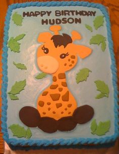 Giraffe cake More Giraffe Birthday Cakes, Giraffe Cupcakes, Giraffe Party, 5th Birthday Party Ideas, Baby First Birthday, Girraffe Cake, Power Ranger Cake, Cake Boss, Cakes For Boys