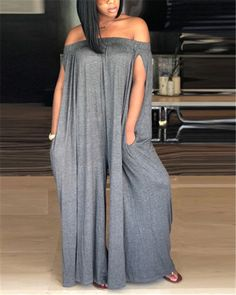 Women Solid Off Shoulder Sleeveless Casual Jumpsuit - Womens Clothing Stores, Wholesale Clothing, Clothing Catalogs, Shoes Wholesale, Size Clothing, Jumpsuits For Women, Blouses For Women, Plus Size Mini Dresses, Casual Jumpsuit
