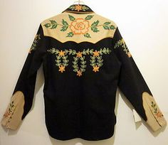 1940s Frontex Model Irby Thompson Dallas Western Shirt - wool, embroidered, back view