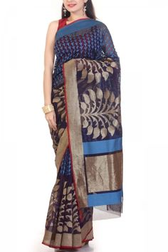 Navy Blue & Zari Hand-loom Net Saree