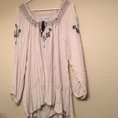 Flow-y Peasant Top Lightweight, flowy, comfy, super beautiful peasant top. Cream colored with black embroidery. Maurices Tops Blouses