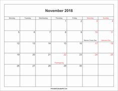 november 2018 calendar with holidays printable calendar 2018 with holidays 2018 holiday calendar 2018