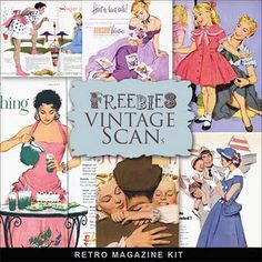 Far Far Hill - Free database of digital illustrations and papers: Freebies Retro Magazine Vintage Ephemera, Vintage Postcards, Vintage Cards, Vintage Paper, Retro Images, Vintage Images, Digital Paper Freebie, Vintage Housewife, Space Crafts