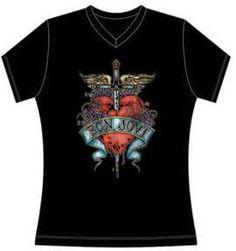 Bon Jovi V-Neck T-shirt - Bon Jovi Heart and Dagger Logo. Women's Black Shirt