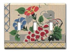 Fruit and Floral 1930's Antique Wallpaper Triple Switch by Fondue, $20.00