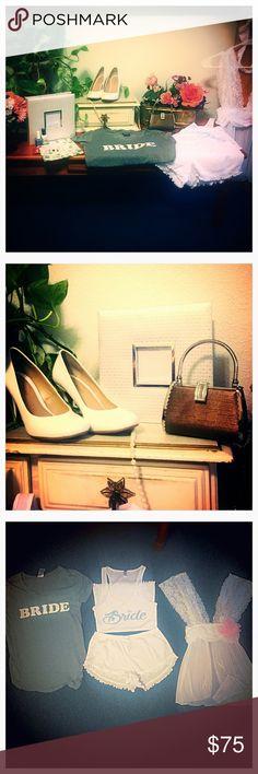 Here Comes the Bride happybox Shoes size 6, photo album, nail art & polish diy, pretty napkins, adorable bride tee, bride pjs, cute tiny purse, pretty lingerie. (about 10 items) Intimates & Sleepwear Pajamas
